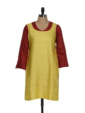 Yellow Chanderi Cotton Kurti - Limo