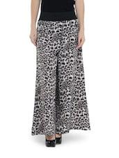 Grey And Black Animal Print Polyester Crepe Palazzo Pants - Saree Sparkle