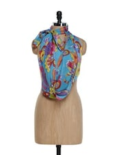 Stylish Sky Blue Scarf With Multi-coloured Floral Prints - Saree Sparkle