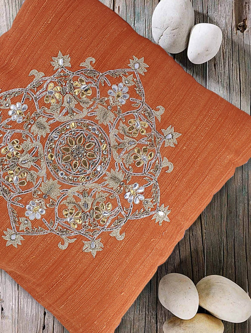 Mandala Pooja Rangoli Mandala Rangoli Orange Cushion