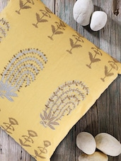 Floral motif yellow cushion cover