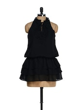 Bold Black Ruffled Mini Dress - Tops And Tunics