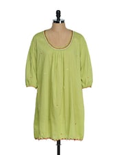 Lime Green Full Sleeved Tunic With Thread Embroidered Neck - Tops And Tunics