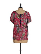Fuchsia Pink Poncho Top With Floral Prints - Tops And Tunics