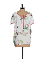 White Poncho Top With Butterfly Prints - Tops And Tunics