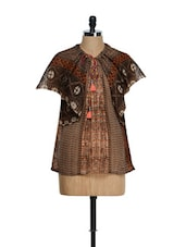 Chocó Brown Oversized Winged Sleeved Top With Colourful Prints - Tops And Tunics