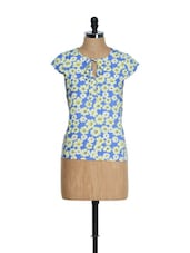 Blue Summer Top With Yellow Flowers - Tops And Tunics