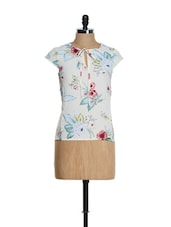 Cream Summer Top With Floral Prints - Tops And Tunics