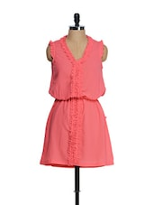 Coral Ruffled Placket Casual Dress - Tops And Tunics
