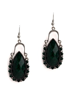 Green German Silver Earrings - Art Mannia
