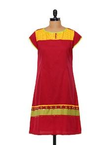 Bright Red Cotton Kurti - Maandna