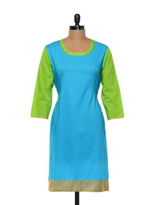 Blue And Green Long Cotton Kurti - Maandna