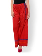 Sizzling Red Cotton Palazzo Pants - Maandna