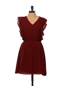 Besiva Maroon Ruffle Dress - Besiva