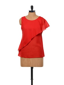 Besiva Red Sleeveless Layered Top - Besiva