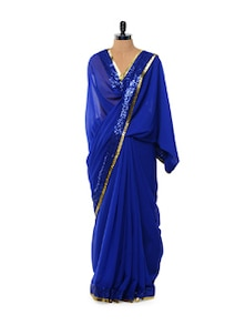Sequined Royal Blue Chiffon Saree - Istyledeals