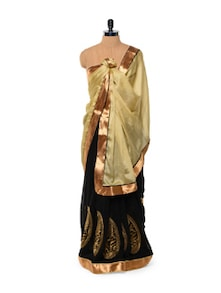 Black And Gold Chiffon Saree With Zari Details - Istyledeals