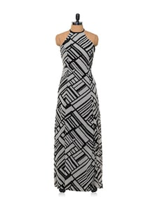 Monochrome Georgette Maxi Dress - Femella