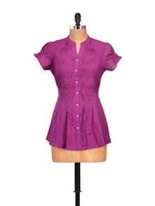 Purple Pintuck Top - Ayaany