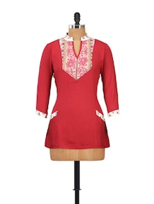 Red Tunic With Printed Yoke - Ayaany