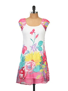 Floral Short-Sleeved Dress - Ayaany