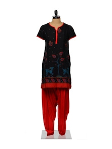 Red And Black Kurta And Salwar Set - Ayaany 87785