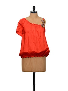Orange Off-shoulder Balloon Top - Designed By Niharika Pandey