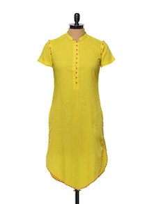 Yellow Cotton Kurti With Pink Trimmings - Designed By Niharika Pandey