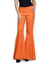 Tangerine Flared Pants In Cotton - Designed By Niharika Pandey