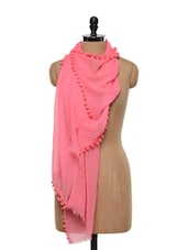 Sage Silk Wool Neon Pom Pom Stole - Sage