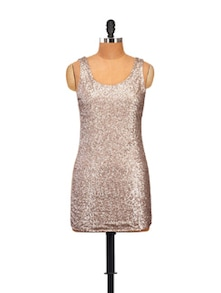 Heavily Sequinned Gold Dress - Zzaaki