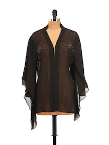 Black Sheer Shrug Shirt With Flared Sleeves - Zzaaki