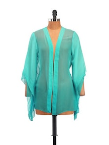 Blue Shrug Shirt With Flared Sleeves - Zzaaki