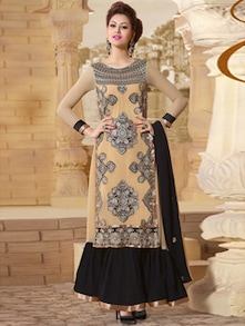 Cream Embroidered Long Anarkali Suit - Khantil