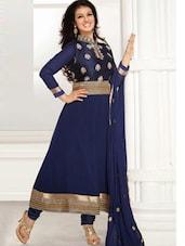 Navy Blue Long Anarkali Suit - Khantil