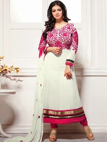 White And Pink Long Anarkali Suit - Khantil