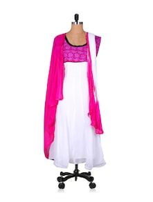 Designer White And Pink Anarkali Suit - Khantil
