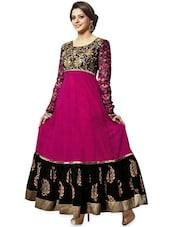 Black And Pink Long Anarkali Suit - Khantil