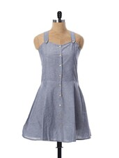 Cute Grey Colored Summer Dress - Miss Chase