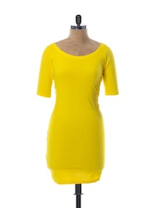 Bright Yellow Mid Sleeved Dress - Miss Chase
