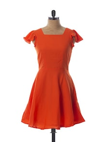 Orange Skater Dress With A String Back - Miss Chase