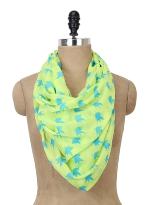 Bird print neon polyester scarf -  online shopping for Scarves