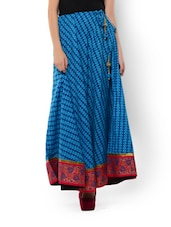 Printed Blue Cotton Maxi Skirt - 9rasa