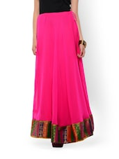 Pink Maxi Skirt With Brocade Border - 9rasa