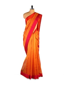 Exquisite Kosa Silk Orange Saree - Kosabadi