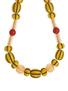 Yellow Necklace With Chunky Glass Fiber Beads - Fashion Essentials