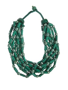 Bottle Green Beaded Necklace With Semi-precious Stones - Fashion Essentials