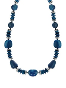 Blue Beaded Necklace With Semi-precious Stones - Fashion Essentials
