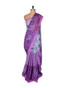 Printed Purple Chiffon Saree - Fabdeal