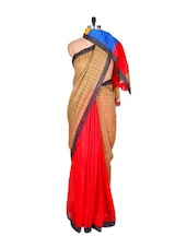 Checks And Colors Linen Silk Saree - Fabdeal